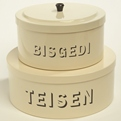Large & Small Stacking Bisgedi & Teisen Tins Cream