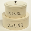 Large & Small Stacking Bisgedi & Cacen Tins Cream